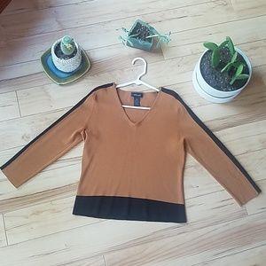 WilliSmith caramel tan and black career blouse